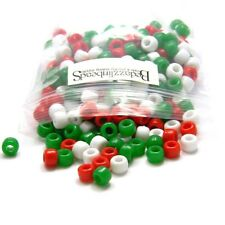 300 Assorted Christmas Color 8mm x 6mm Plastic Pony Beads Mix of Red White Green
