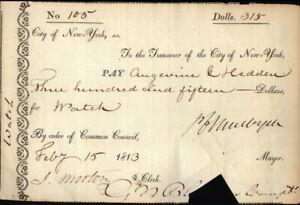 1813 New York New York (NY) Receipt City Of New York