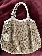 Gucci Sukey Womens Tan Brown Monogram Canvas Leather Shoulder Bag Handbag Purse