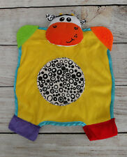 Infantino Cow Lovey Teether Blanket Yellow Black White Dots Terry Cloth Nice VGC