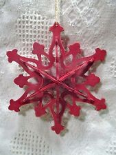 "Christmas 3-D Wooden Die Cut 6-1/2"" Ornamental Star, painted red"