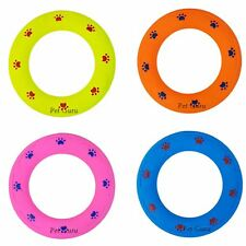 """Paw Print 7"""" Soft Durable Rubber Ring Dental Chewing Biting Chasing Dog Puppy"""