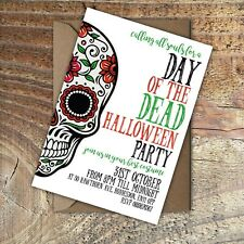 HALLOWEEN INVITATIONS Day of the Dead Party Personalised PK 10