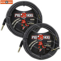 2-Pack Pig Hog 1/4 Amp-Grill Tweed Guitar Instrument Cable Cord 20ft Right-Angle