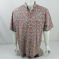 Reyn Spooner Reverse Print Tribal Floral Button Up XL Hawaiian Aloha Shirt