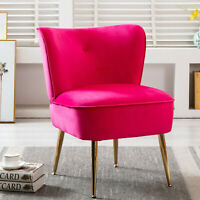 Retro Velvet Accent Chair Dining Single Sofa Couch Lounge Upholstered Cushion