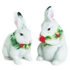 Fitz & Floyd Town & Country Christmas Salt & Pepper Bunnies Rabbits