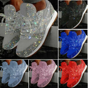 Ladies Sparkly Trainers Sequins Sneakers Casual Lace Up Comfort Sports Shoes NEW