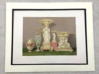 1862 Stampa Vittoriano Porcellana Tavola Ornamenti Antico Cromolitografia