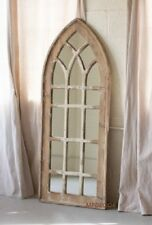 """Gothic Arch Mirror Cottage Chic Shabby Distressed Finish Victorian Accent 60""""H"""