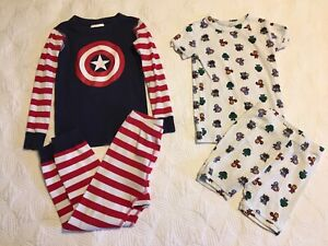 HANNA ANDERSSON Marvel Captain America And Gap Kids Marvel Pajamas Lot, Size 4/5