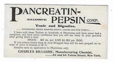 Old Medicine Blotter Pancreatin-Pepsin Tonic Digestive Charles Kilgore Chemist