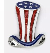 Blue Uncle Sam Hat Silver Tone Brooch Patriotic 4Th Of July Red, White &