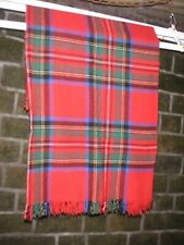 Vintage Red Tartan Wool Check Fringed Blanket for Throw Lap Poncho Shawl Travel