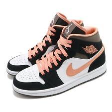 Nike Mujeres Air Jordan 1 Mid se Melocotón Moca Blanco Negro Rosa Mujeres AJ1 DH0210-100
