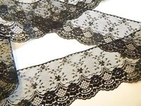 BLACK LACE TRiM 4 in. WiDE ~ 5 YDS ~ Wedding Crafts Sewing Runners Jars