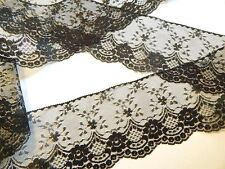 "BLACK LACE TRiM 4"" WiDE ~ 3 YDS ~ DIY Wedding Crafts Sewing lingerie, dolls"