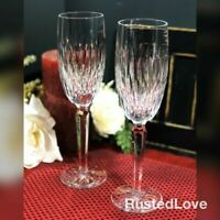 "Waterford Rosemare Champagne Flutes discont. Wedding toasting glasses 8 3/4"" - 2"