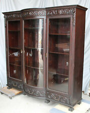 Large Antique Mahogany triple door carved Bookcase
