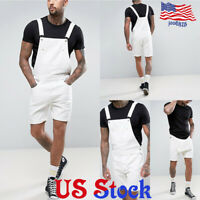 Men's Suspenders Denim White Overalls Jeans Bib Short Pants Jumpsuits Rompers
