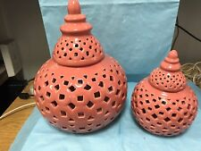 TWO  PINK CERAMIC LUMINARIES