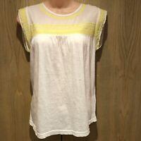 BNWT Indi & Cold Top Size XS Camiseta White & Yellow Sleeveless Cotton T-Shirt