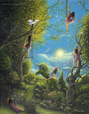 Philippe Fernandez Original Painting Fantasy Landscape Fairy Tale Girls Clouds