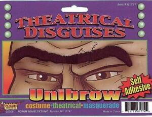 Unibrow Black Faux Hair Self Adhesive Funny Costume Facial Disguise