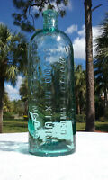 TUMBLED - 1870'S HUGE ANTIQUE CLARKE'S WORLD FAMOUS BLOOD MIXTURE BOTTLE!  AQUA!