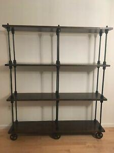 Industrial Loft weathered oak shelf rolling bookcase