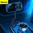 Baseus Bluetooth Wireless Car FM Transmitter AUX Receiver Adapter 2 USB Charger