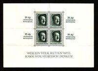 DR NAZI 3 Reich Rare WWII Stamp Hitler Fuhrer Block11 Overprint Reichsparteitag