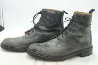 TED BAKER London Mens Sz 13 Laced Beatle Biker Gray Leather Chukka Ankle Boots
