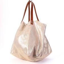 sac cabas créateur lin lamé argent anses cuir camel big bag shopping