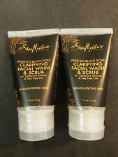 NEW Lot 2 Shea Moisture African Black Soap Clarifying Facial Wash & Scrub 1.5 oz