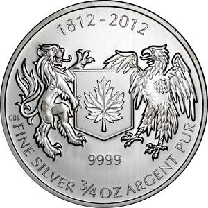 Canada 0.75 oz Silver 2012 War of 1812 .9999 Fine $1 Dollar Coin BU