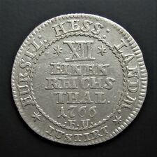 German States Hesse-Cassel 1/12 Thaler 1766 Silver Coin Rare Lion Faces Left S5