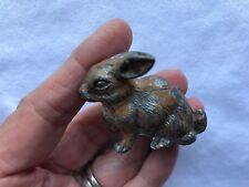 Antique German Bunny Rabbit Miniature Cast White Metal Putz Toy Easter Figurine