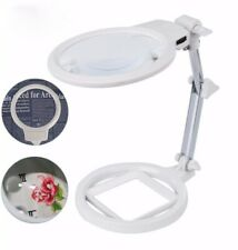 Large Magnifying Glass Lamp With Led Light And Stand Magnifier Loupe Visor 2.5X