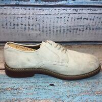 Men's Shoes BASS Brockton Oxfords Sz 9.5 EEE Extra Wide White Suede Bucs