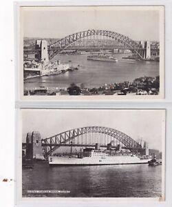 VINTAGE POSTCARD 2 X SYDNEY HARBOUR BRIDGE 1930s  NSW