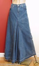 DRAMA GOLD FADED BLUE JEAN DISTRESSED MAXI PLEATED 5 POCKET DENIM SKIRT SZ 7/8