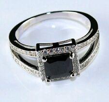 Cz Ring Size 9 Princess Cut Simulated Blk Crystal