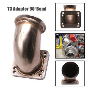 "3.0"" 90°Stainless Steel 304 Turbo Elbow Adapter Flange Fits T3 Turbocharger Part"