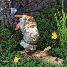 Miniature Fairy Garden Gnome Chopping Wood