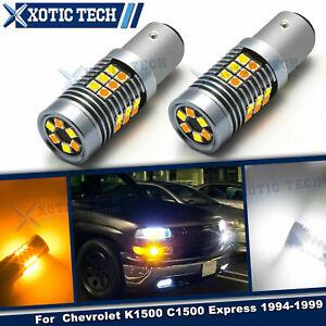 LED 2-Color Switchback Front Turn Signal Light For Chevrolet K1500 C1500 1994-99