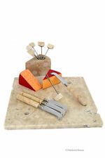 """Set 12"""" Natural-Marble Appetizer Serving Cheese Board with Knives and Picks"""