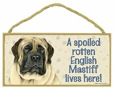 English Mastiff Wood Dog Sign Wall Plaque 5 x 10 for Dog Lovers Gift House Leash