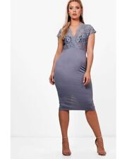 9a1f4498acfe5 Boohoo Plus Emma Lace Plunge Midi Dress Size 18 BNWT RRP £23.99 Grey Uk  Freepost