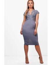30ac264a904f Boohoo Plus Emma Lace Plunge Midi Dress Size 18 BNWT RRP £23.99 Grey Uk  Freepost